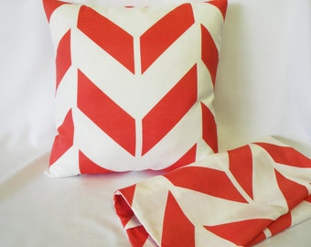 Pillow Covers - Set of Two 16 x 16 - Bright Orange and White - Chevron - Summer Pillow Shams