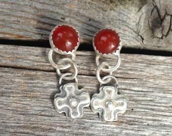 Southwestern Carnelian Sterling Silver Cross Earrings, santa fe cross earrings, milagros earrings,  sterling cross earrings