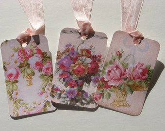 Shabby Chic Rose Basket Hang Tags Victorian Set of 6