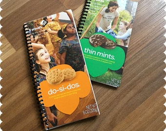 Girl Scout Cookies Notebook, Do-Si-Dos, Thin Mints, Recycled Spiral Bound Notebooks, Cookies, Jotter