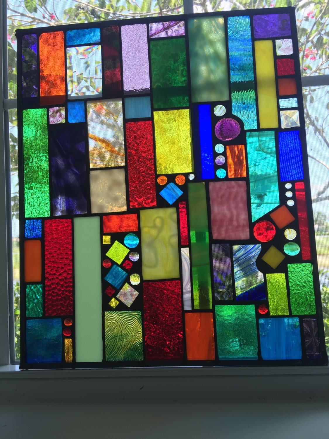 Outdoor Insert Stained Glass Panel In Wall