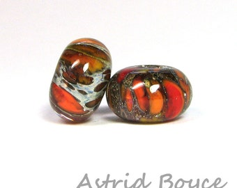 Ignition Spacers Artisan Lampwork Lamp Work Glass Bead Pair Self Representing Artist SRA B195 fire flame