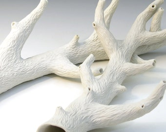 Carved porcelain faux white branch with 6 side branches, faux bois, unglazed