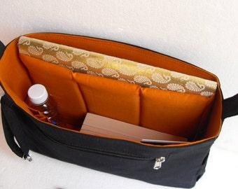 "Large Bag organizer for satchel Bag 12"" wide x 9"" high x 2.5"" deep - Black and dark gold color"