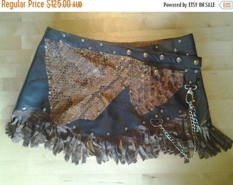 """20% OFF croc and leather skirt/belt with studs,chain and pocket.....36"""" to 44"""" waist or hips.."""