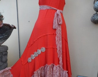 """20% OFF bohemian bright orange dress....small to firmer 40"""" bust.."""""""