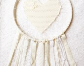 RESERVED for Erin, Cream & White Love Catcher Wall Hanging, Shabby Chic Lace Large Dream Catcher, Nursery Decor, Gender Neutral Baby Gift