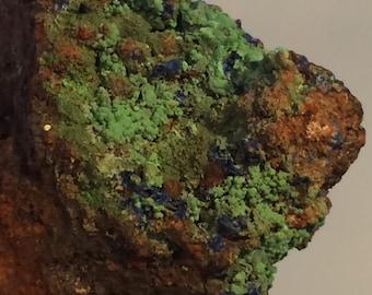 80g Azurite w Malachite on Quartz Crystal Cluster Mineral Specimen from Morrocco
