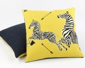 Scalamandre Yellow Zebra Pillow Cover, Throw Pillow, Toss Pillow, 20x20 Pillow, Yellow Pillows, Left Facing Zebra Migration