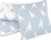 """Blue Kangaroo Pillow Cover (18""""x18""""), Reversible, Australian Animal Pillow, Nursery Pillow, Throw Pillow, Kanga + Roo"""