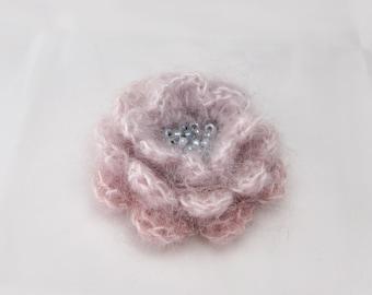 Crochet flower pin, Obre Pale pink Pale Gray Brooch, Mohair Crochet Brooch with Czech Light Gray beads, leaves, pearls