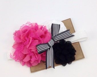 Valentines Headband Hot Pink and Black Flower Headband Ribbon Bow Boutique Headband OTT Headband M2M Persnickety Newborn Girls Headband