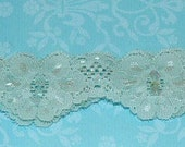 Custom order for Sue Reyes - Seafoam Blue Green Beaded Sequin Garter - Ready To Ship
