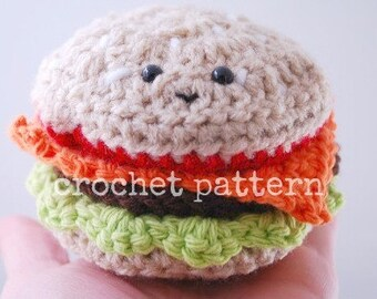 CROCHET PATTERN-amigurumi crochet cheeseburger pattern