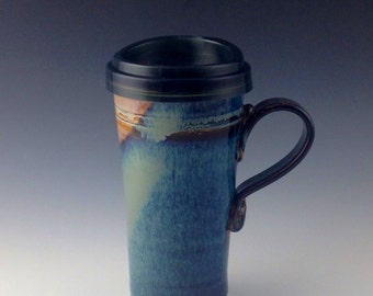 Pottery Travel mug / Commuter mug with silicone lid - Blue / Brown