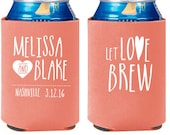 Personalized Wedding Can Cooler - Let Love Brew Wedding Favors - Your State Can Coolies - Engagement Party Favors - Wedding Coolies
