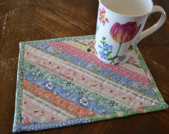 Mug Rug Quilted in Pastel Selvage Cotton, Coworker gift, feedsack reproduction Mug Rug