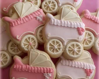 Baby Shower Cookies - baby stroller cookies - 1 dozen Baby carriage favors - Personalized cookies - baby girl cookies - baby boy cookies