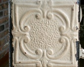 """12"""" Antique Tin Ceiling Tile -- Rusty Cream Colored Paint -- Pretty Framed Design"""