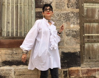 White Ruffle shirt , oversized shirt , big cotton shirt , free size ,