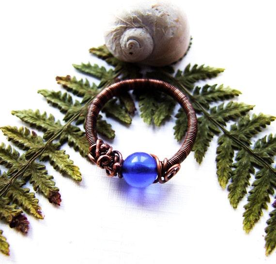 Blue Ring, Deep Blue Simple Retro Ring, Elvish Ring