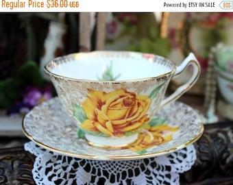 Vintage Teacup, Tea Cup and Saucer, Golden Rose, Collingwoods, Fine Bone China 12983