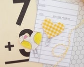 Set of 2 Mini Heart Clips Lemons And Yellow Gingham Planner Clips Bible Journaling Clips Bookmarks
