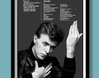 David Bowie Poster. HEROES German promo poster. A2 size. Bowie wall art . Rock promo. Album promo. Song lyric poster. Vintage Bowie poster