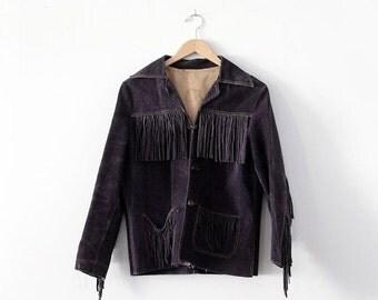 SALE 1960s East West style leather jacket, vintage blue suede jacket