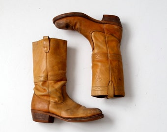 vintage 70s leather boots, Frye style campus boots, mens 10.5 D