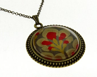 Mustard Flower Indian Paper. Vintage Style Necklace