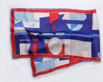 1960s VERA hand rolled silk scarf / red white and blue / Mod / artistic / geometric / signed / designer
