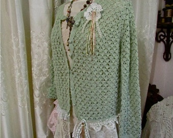 Shabby Lace Sweater, sage cotton crochet sweater, tattered shabby vintage lace chic, romantic altered sweater, XL LARGE