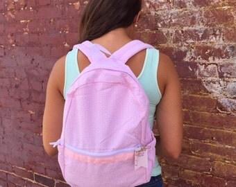 Personalized Pink Seersucker Backpack - Toddler - Girls