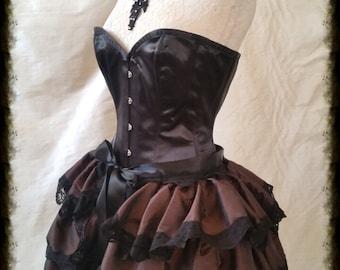 STEAMPUNK Taffeta Bustle Skirt  Burlesque Steampunk Wedding  By Gothic Burlesque