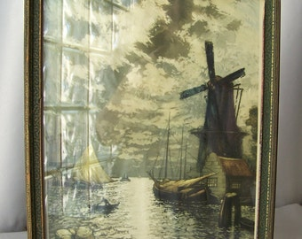 Vintage Lithograph Sunset Glow Signed Heran Chaban 1926 Framed Print Pictorial Review Holland Windmill