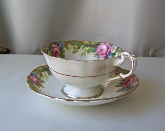 Vintage Tea Cup and Saucer Tapestry Rose Paragon English Fine Bone China Pink Rose Gift for Mom 1960s