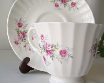 Vintage Pink Rose Tea Cup and Saucer Fine Bone China by Georgian Made In England Vintage 1990s