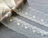 Cotton Lace Trim -2 yards Ivory Flower Lace Trim (L668)
