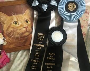 Lot 3 Vintage CFA CAT Show Satin Ribbon Rosette Award  Best Kitten Cat  Shorthair Blue Black White