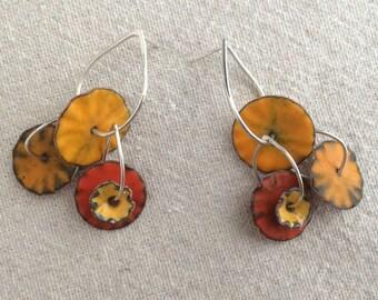 Calder Enamel Earrings in Hot Yellow