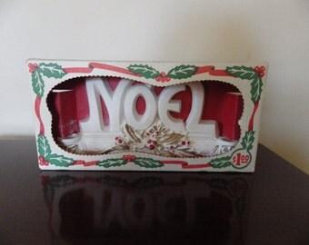Vintage 1950s Chalkware Noel Candleholder Still in box!