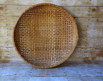 Extra Large Shallow Basket - Winnowing Basket - Wall Hanging - Wicker Tray