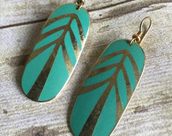 Vintage Laural Burch Earrings - Teal and Gold - Tribal - Geometric -