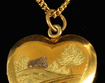 """Vintage GF Gold Filled Yellow & Rose Gold Engraved Country Scene Locket 18"""""""