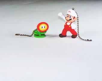 Super Mario Bros and Fire Flower Ceiling Fan Light Pull Set / Gift for Gamers /  Kids Room Decor / Gift for Boys / Gift for Girls