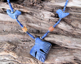 Lapis Bird Necklace with Hand Cut Lapis Lazuli and Carnelian Beads