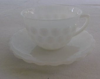 Vintage Cup and Saucer, Milk Glass, Bubble Pattern