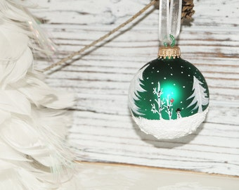 Glass Christmas Ornament, Hand Painted Cardinals N Snowman - White Pines, Aspen, Snow Scene, and Falling snow, on a Green Christmas Ornament