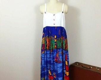 90's Ocean Print Jumper Dress, Carole Little Rayon Denim Suspender Dress, Sailboat Nautical Summer Midi Dress, Large 9 10 12